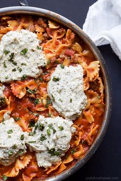 Easy Polka Dot Lasagna Skillet made all in one pot and only 30 minutes and a cookbook review of #expresslanecooking   joyfulhealthyeats.com