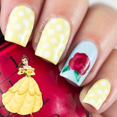 Disney Princess Nails: Belle From Beauty and The Beast Love Nails, How To Do Nails, Fun Nails, Disney Nail Designs, Cute Nail Designs, Disney Princess Nails, Disney Belle, Princess Belle, Princess Beauty