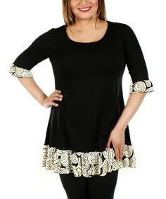 Another great find on #zulily! Aster Black & White Swirl Tunic - Plus by Aster #zulilyfinds