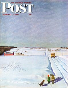Waiting For The School Bus In The Snow by John Falter, Feb. 1, 1947, The Saturday Evening Post.