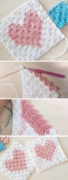 f6d801212 Crochet Heart in a Square Granny Square Crochet Pattern