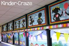 "I knew this is where our ""wow"" factor needed to be. these adorable silhouettes sets the tone and the theme for our classroom design. Circus Classroom, Classroom Layout, New Classroom, Classroom Design, Classroom Themes, Classroom Organization, Autism Classroom, Classroom Activities, Classroom Management"