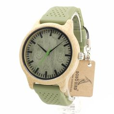 Bamboo Wooden Watch Wood Dial Soft Silicone Green Band Quartz Watches for Men Women Bob