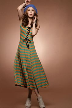 Unique Crossed Tie Front Two-color Striped A-line Split Canmis Midi Dress on BuyTrends.com, only price $11.90