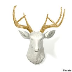 Gold Glitter Antlers with White Stag Deer Head
