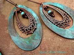 Rustic copper Patina hoop earrings #boho #jewelry #patina                                        Rustic copper and patina verdigris hoop earrings will add a carefree, bohemian vibe to your wardrobe.  Hand patinaed large copper hoops with a Turquoise patina.