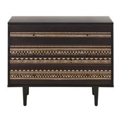 Two-tone chest of drawers with graphic motifs Mayana Large Chest Of Drawers, 3 Drawer Chest, Acacia, Tropical Houses, Sideboard, Bedroom Furniture, Entryway Tables, New Homes, Storage