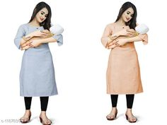 Kurtis & Kurtas Women's Solid Cotton Maternity Kurtis and Feeding Kurtis Fabric: Cotton Sleeve Length: Short Sleeves Pattern: Self-Design Combo of: Combo of 2 Sizes: XL (Bust Size: 42 in, Size Length: 42 in)  L (Bust Size: 40 in, Size Length: 42 in)  M (Bust Size: 38 in, Size Length: 42 in)  XXL (Bust Size: 44 in, Size Length: 42 in)  Fit Shape : Maternity Kurtis  Country of Origin: India Sizes Available: M, L, XL, XXL   Catalog Rating: ★4 (213)  Catalog Name: Aagam Alluring Maternity and feeding Kurtis CatalogID_2255798 C74-SC1001 Code: 076-11878305-9081