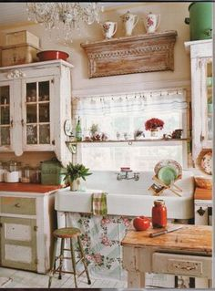 shabby chic kitchen, love the farm sink!