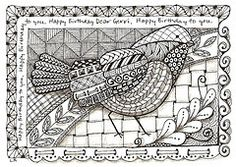 Birthday bird (LaurieRo) Tags: birthday bird card zentangle