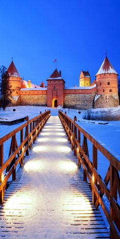 Trakai Island Castle covered in snow - Vilnius, Lithuania.