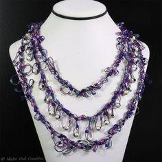 Glitter Necklace Hand Crochet Beaded Purple by NightOwlCreative