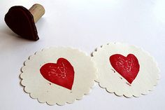 """Homemade """"Heart Felt"""" Stamps - http://www.pbs.org/parents/crafts-for-kids/felt-stamps/"""
