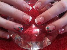 White French acrylic with freehand nail art