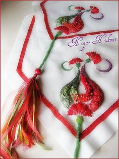 Nigar Hikmet's ribbon and bead work on bed coverlets, table runners, pillowcases, etc.