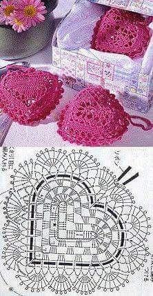 DIY handmade: how to make a crochet heart? - 12 patterns and designs - paper art DIY handmade: how to make a crochet heart? – 12 patterns and designs – # Hä Crochet Sachet, Crochet Motifs, Crochet Diagram, Crochet Chart, Crochet Squares, Thread Crochet, Crochet Gifts, Doily Patterns, Knitting Patterns