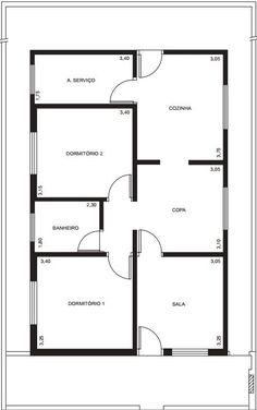 para projeto de instalação elétrica residencial é necessário ter a planta baixa do local Simple House Plans, My House Plans, House Layout Plans, House Floor Plans, Bungalow Floor Plans, Home Design Floor Plans, Classic House Design, Small House Design, Duplex House Plans