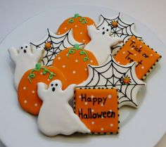 Halloween decorated cookie favors: pumpkins, ghosts, spiderwebs and square cookies, 1 dozen