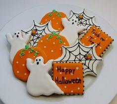 Halloween decorated cookie favors: pumpkins, ghosts, spiderwebs and square cookies, 1 dozen