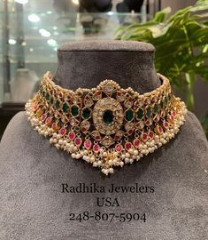 kundan choker studded with Emerald Rubies Uncuts and pearls .For full product details pls whats app at 20 July 2019 kundan choker studded with Emerald Rubies Uncuts and pearls .For full product details pls whats app at 20 July 2019 Antique Jewellery Designs, Gold Earrings Designs, Gold Jewellery Design, Necklace Designs, Gold Jewelry, Fancy Jewellery, Emerald Jewelry, Gold Necklaces, Latest Jewellery