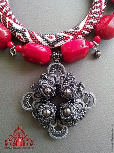 Купить Cлавяночка. Колье-бусы - серый, красный, белый, славянский стиль, славянский узор