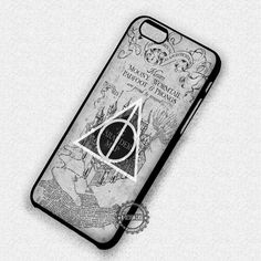 Marauder Map Harry Potter Deathly Hallows Symbol - iPhone 7 6 5 SE Cases & Covers #movie #harrypotter #maraudersmap  #iphonecase #phonecase #phonecover #iphone7case #iphone7 #iphone6case #iphone6 #iphone5 #iphone5case #iphone4 #iphone4case