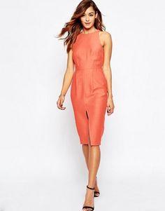 83b0a980e1aa Mega fede ASOS Sleeveless Textured Wiggle Dress With Split Front - Coral  ASOS Pencil Kjoler til Damer til hverdag og fest