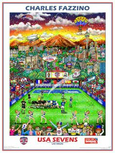 This is the official USA Sevens Rugby Tournament And Festival commemorative artwork made by Charles Fazzino!