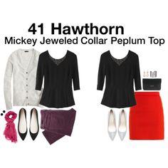 Mickey Jeweled Collar Peplum Top