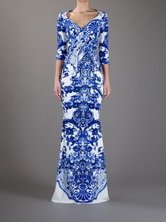 Roberto Cavalli Printed Fishtail Dress