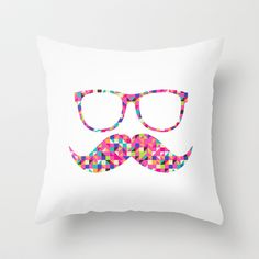 Funny Girly Pink Abstract Mustache Hipster Glasses Throw Pillow by Railton Road