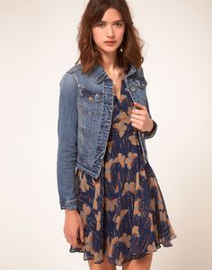 denim jacket + print dress. ....no matter what pattern i feel like this is always a great go-to outfit :)