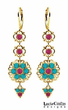 Lucia Costin Lever Back Dangle Flower Earrings Made of 24K Yellow Gold Plated over .925 Sterling Silver with Fuchsia and Turquoise - Green Swarovski Crystals, Ornate with Filigree Ornaments and Lovely Charms Lucia Costin. $69.00. Unique jewelry handmade in USA. Earrings designed by Lucia Costin. Flowers and fancy ornaments beautifully combined. Update your everyday style with inspiration when wearing this piece of jewelry. Decorated with fuchsia and blue - green Swarovski...