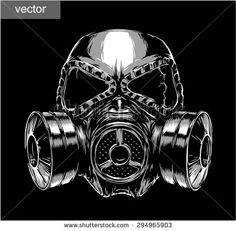 black and white engrave isolated vector gas mask - stock vector
