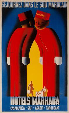 Séjournez dans le sud marocain - Hotels Marhaba - Casablanca - Safi - Agadir - Taroudant - 1930 - (Bleuer) -