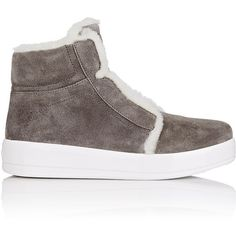 Prada Linea Rossa Women's Shearling-Lined Suede Sneakers ($750) ❤ liked on Polyvore featuring shoes, sneakers, grey, suede high top sneakers, gray sneakers, grey suede shoes, suede high tops and gray shoes