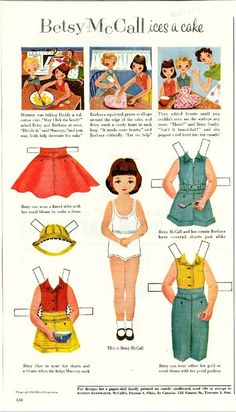 Vintage February 1954 Magazine Paper Doll Betsy McCall Ices a Cake* For lots of free paper dolls International Paper Doll Society #ArielleGabriel #ArtrA thanks to Pinterest paper doll collectors for sharing *