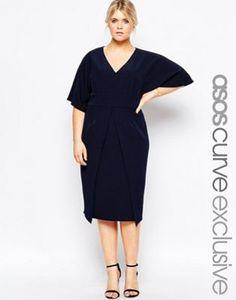 8897b21605a CURVE Asymmetric Hem Wiggle Dress With Kimono Sleeves. Mode Taille Plus  Pour Les FemmesRobes Bleu ...