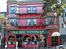 Haight-Ashbury - The Red Victorian, a theme hotel - this used to be a great coffee house with a grand piano and cheap food like spaghetti.