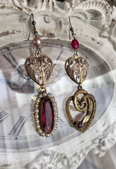 serpent hearts - vintage assemblage earrings ruby purple glass seed pearls snake charm asymetrical valentine jewelry by the french circus