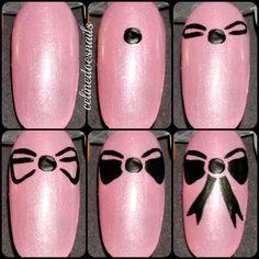 Bow manicure nail art tutorial. Gorgeous