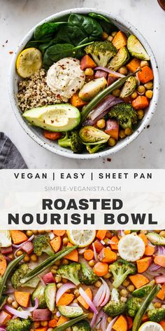 Keep warm and nourished with nutrient dense Roasted Nourish Bowls recipe, featur. - Keep warm and nourished with nutrient dense Roasted Nourish Bowls recipe, featuring sweet potatoes, - Veggie Recipes, Whole Food Recipes, Vegetarian Recipes, Cooking Recipes, Healthy Recipes, Beef Recipes, Veggie Bowl Recipe, Vegan Bowl Recipes, Easy Recipes