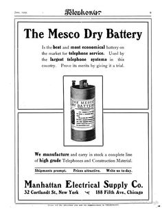 dry battery advertisements 1905 telephony harry b mcmeal google books