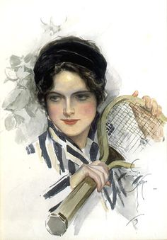 """LADY TENNIS1905, watercolor and pastel on paper board34"""" x 20"""" signed & dated lower right'Nedra', by George Barr McCutcheon, Dodd, Mead and Co., 1905"""