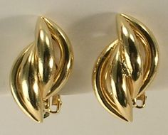 Gold Tone Metal Inter Woven Braided Twist Small Clip On Earrings by JohnGermaine on Etsy