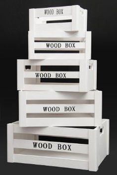 """Aufbewahrungsbox """"Vintage"""" Holzkisten 5er Set weiss Holzboxen Holzkiste Dekokiste Deko Weinkiste Box Kiste Kisten Boxen Aufbewahrung Regal: ..."""