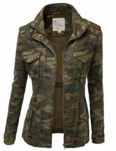 9Xis Women's Camo Military Cotton Drawstring Jacket with Studs