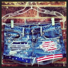 Stars and Stripes Studded Upcycled Vintage Denim Shorts USA American Flag I need these!