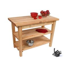 John Boos C03-2S 60x24 Country Maple Table with 2 Shelves / J.A. Henckels 13 Piece Knife Block Set