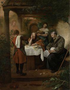 Steen (ca. 1626 – - Supper at Emmaus, oil on canvas × 104 cm) — Rijksmuseum, Amsterdam Lucas 24, Dutch Golden Age, Dutch Painters, Art Database, Museum, Old Master, Rembrandt, Art Reproductions, Art Google